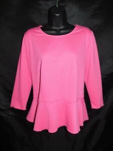 Ann Taylor M Pink Peplum Shirt 3/4 Sleeve Knit Top Day Evening Round Neck Md