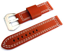 22mm Hand Stitches Brown Leather Watch Strap Fishtail Buckle