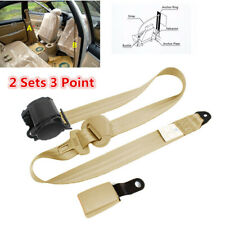 2 Sets 3 Point Adjustable Car Seat Belts Safety Lap Belt w/Curved Rigid Buckle