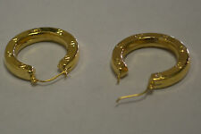14k Solid Yellow Gold Large Circle Hinged Hoop Earrings