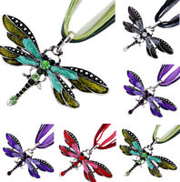 Classic Dragonfly Charms Pendent Rhinestone Inlay Gemtone Chain Necklace Jewelry