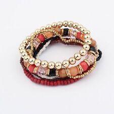 Fashion Elastic Multi-layer Silver Boho Bracelet Bangle Beaded