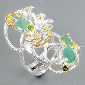 Handmade SET Emerald Ring Silver 925 Sterling  Size 8 /R173894