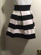 New Black And White Striped A Line Pleated Party Skirt Size L