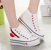 Women's Trainers Platform Lace Up High Top Canvas Sneakers Athletic Sport Shoes