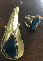 TOP-TIPP! VINTAGE - Toller Ohrring und Ring mit Stein Messing goldfarben - 2tlg