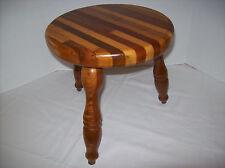 VTG HANDCRAFTED VARIEGATED HARDWOODS SEAT 3 SPINDLE LEGGED WOODEN MILKING STOOL