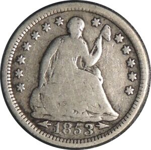 1853-P H10C SEATED SILVER HALF DIME VG  DETAILS LIGHTLY CLEANED   041521058