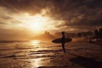 Surfer On Ipanema Beach Sunset Rio De Janeiro Brazil Poster 18x12