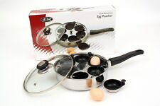 New 6 CUP EGG POACHER PAN WITH LID Non Stick Saucepan Fry Cookware Poached Cup