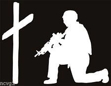 SOLDIER KNEELING AT CROSS Sticker military praying #7