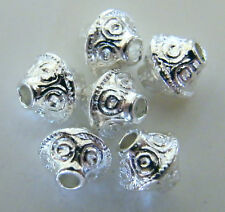 100pcs 7x6mm Metal Alloy Bicone Spacer Beads - Bright Silver