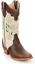 Rocky 4430 Flowered Western Cowgirl Cowboy Boots Womens Brown Cream Tan 7 M