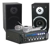 "KARAOKE-SET  ""STAR-4""  Verstärker 2 x75 W, 2 Boxen, 2 Mikrofone USB/SD schwarz"