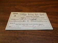 1890 LEHIGH VALLEY RAIL ROAD EASTERN DIVISION EMPLOYEE PASS