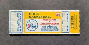Philadelphia 76er's vs Seattle Super Sonics Unused 1976 Basketball Ticket