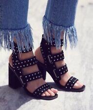 Free People Lixer Black Studded Heels by Sol Sana Size US 6.5 UK 4.5 EU 37  $180