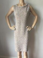 NWT St John Knit size 6 dress beige caramel tweed wool rayon