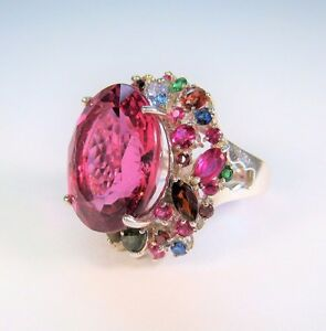 FLAMINGO TOPAZ SAPPHIRE TOPAZ RUBY CHROME RING 22.7 CTW #7.25 W. GOLD/925 SILVER