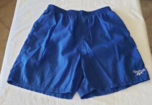 Mens Reebok Swimming Trunks Shorts Blue 100% Nylon Mesh Lined Size Large