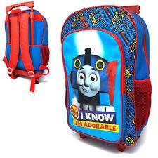 Thomas Tank Engine Kids Luggage Trolley Backpack Rucksack Bag Suitcase On Wheels