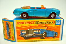 Matchbox SF nº 69a rolls royce descapotable azul metalizado color amarillo oscuro la placa base