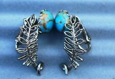 Clip on EARRINGS jewelry glass under turquoise
