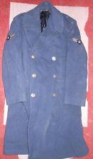 Nice Older Vintage US Air Force Navy Blue Wool Long Coat Trench coat ~ 37R