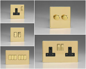 Varilight Screwless Polished Brass Range - Black Inserts & Brass Switches