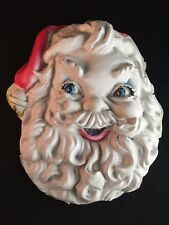 Vintage Christmas Santa Head Plastic Wall Hanging