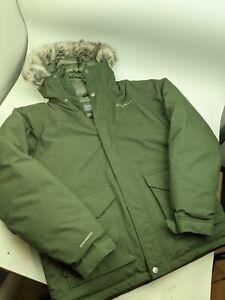 Mens Eddie Bauer Weatheredge Green Hooded Parka Jacket Down Filled Heavy Sz LT