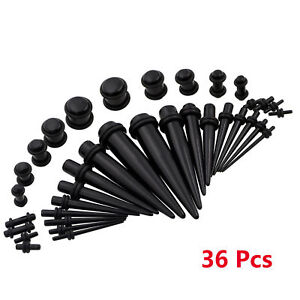 36Pcs Taper Stretcher Ear Plugs Expander Gauges Acrylic Stretching Kits Set
