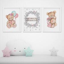 designbomb® 3er-Set Kinderzimmer Babyzimmer Teddybären Poster personalisiert