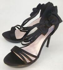Juicy Couture Shoes Heels 6.5M Black Satin Formal Dress Prom Platform Stilettos