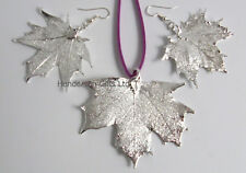 maple leaf silver leaf pendant and earring set gift boxed - leaf jewellery