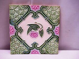 "Antique Art Nouveau Majolica Tile Pink Flower Geometric Design Embossed Gree""511"