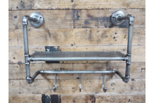 RUSTIC INDUSTRIAL STEEL METAL PIPE & SHELF WITH 3 COAT HOOKS SHELVING UNIT