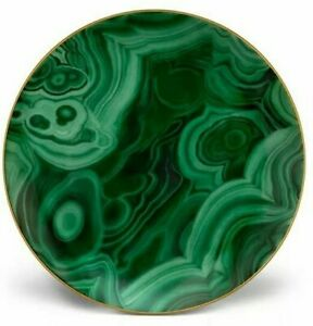 "L'OBJET Malachite 24K Gold-Trimmed Porcelain Dessert Plate 8"" - NEW"