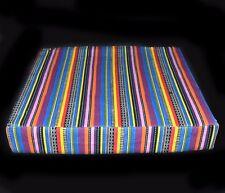 ak333t Pink Yellow Blue Purple Stripe Cotton Canvas 3D Box Seat Cushion Cover