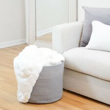Grey Cotton Rope Storage Basket | Large Baby Nursery Bin | Decorative Organizing