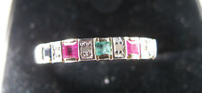 9ct Yellow Gold Rubies Diamonds & Emerald Half Eternity Ring Size O Us 7.4 Super