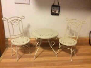 Vintage Metal Doll Table And Matching Chairs