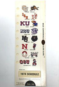NEW 1974 Big 8 Eight Football Schedule 1973 Record Oklahoma Nebraska Colorado