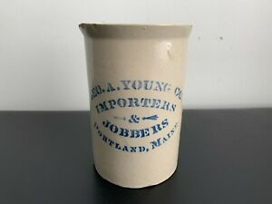 Antique GEO. A. YOUNG CO. IMPORTERS & JOBBERS PORTLAND, MAINE Stoneware Pitcher