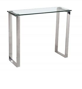 Console Table Clear Glass, Chrome Legs