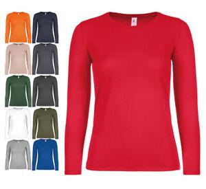 Damen Langarm T-Shirt Longsleeve Shirt Baumwolle Langarmshirt Rundhals Unisex