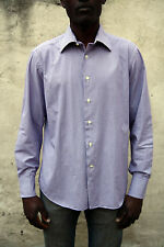 JCT Mens Casual Shirt Tartan Checked Purple White Cotton Long Sleeved L Large