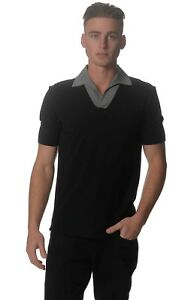 Kit and Ace Black Grey Cashmere Mix Crossover Polo Shirt Short Sleeve S L NWT