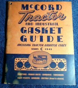 1941 McCORD TRACTOR AND INDUSTRIAL GASKET & RADIATOR CORES GUIDE SERIES C