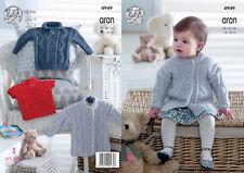chaquetas Suéter King Cole Childrens Aran Tejer patrón 2905 Sombrero /& Guantes